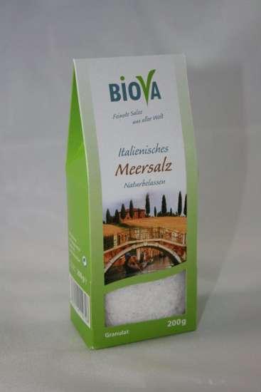 Biova Gourmetsalz Mittelmeer Meersalz Granulat 200g Packung