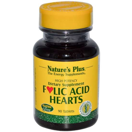 Nature's Plus Folic Acid Hearts (Folsäure-Herzen) 90 Tabletten (31,7g)