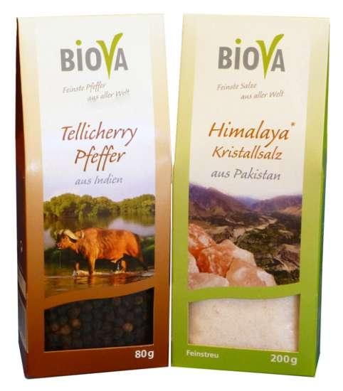 Biova Gourmet Premium Kristallsalz fein & Tellicherry Pfeffer