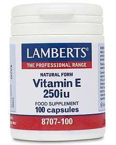 Lamberts Natural Form Vitamin E 250iu 100 Softgels LB