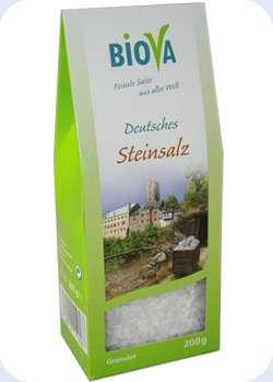 Biova Gourmetsalz Deutsches Steinsalz Granulat 200g Packung