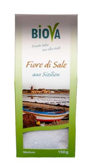 Biova Gourmetsalz Fiore di Sale (Fleur de Sel Salz aus Sizilien) 150g