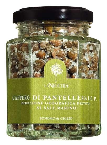 La Nicchia Capperi di Pantelleria al sale marino Kapern in Meersalz 90 g Glas