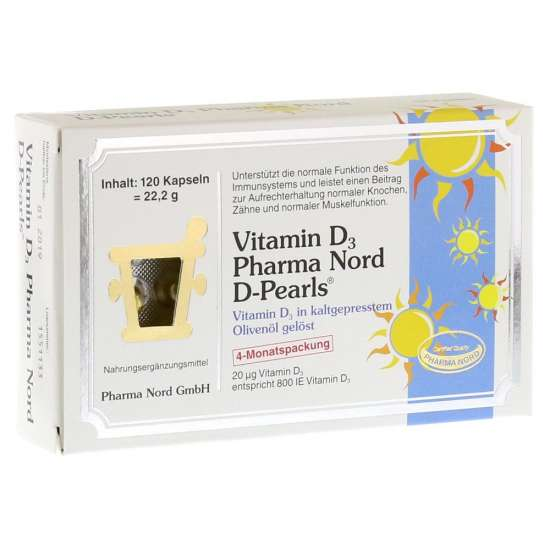 PharmaNord Vitamin D3 (D-Pearls) 20mcg 120 Kapseln (22,2g)