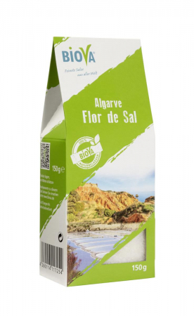 Biova Gourmetsalz Flor de Sal aus der Algarve 0,1-1mm 150g Faltschachtel