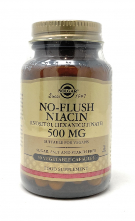 Solgar No-Flush Niacin (Vitamin B3)(Inositol Heaxnicotinat) 500mg 50 veg. Kapseln (vegan)