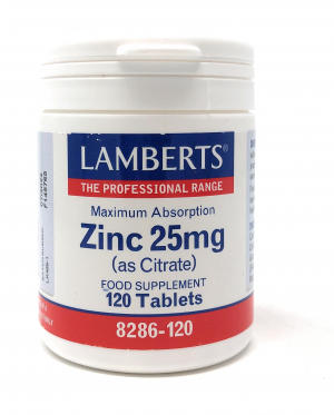 Lamberts Healthcare Zinc 25mg (as Citrate) (Zinkcitrat) 120 Tabletten (vegan)